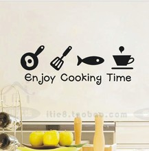 Enjoy Cooking Time waterproof creative tile wall sticker decals glass cabinets kitchen decor wall art paper Free shiping