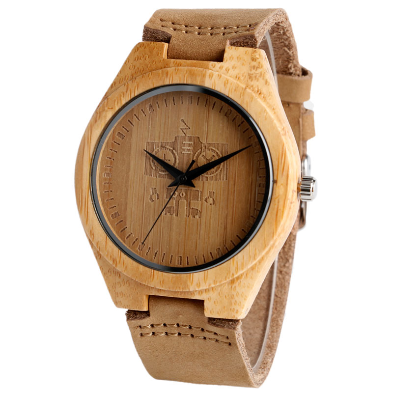 Luxury Brand Robert Pattern Men Bamboo Wood Watches Men Women Quartz Clock Fashion Casual Leather Strap Wrist Watch Male Relogio<br><br>Aliexpress