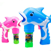 2017 New Electric Dolphin Bubble Gun Music Light Blowing Bubbles+Bubble Water Gun Belt Sword Set Children Kids Outdoor Toys Hot(China)