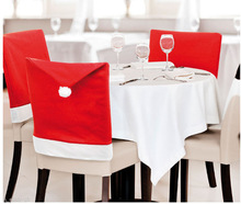 12Pcs 65x55cm New Santa Claus Hat Chair Covers Back cover Christmas Dinner Table Party Christmas Suppliers New Year Decoration