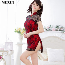 MEIREN Victoria Classical Chinese Cheongsam Style Lace Dress Sexy Lingerie women Costumes products Toy underwear Role Play N176