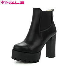 Size 34-43 Fashion Zipper 2017 Round Toe PU Leather Women Shoes Square High Heel Ankle Boot Women Motorcycle Boot(China)