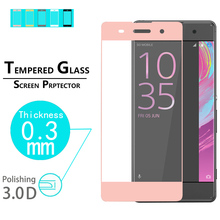 "Hot Sale!Best full Cover 3D Curved Edge Tempered Glass Covered Protector film For Sony Xperia XA 5.0""  screen HD protective film"