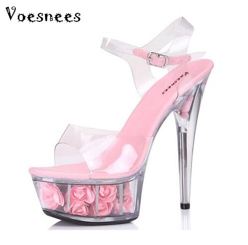 Shoes Woman Sandals Summer Style 2017 Transparent Crystal Sandals  Rose Flowers Sexy Waterproof Super High Heel 15cm Plus-size <br>