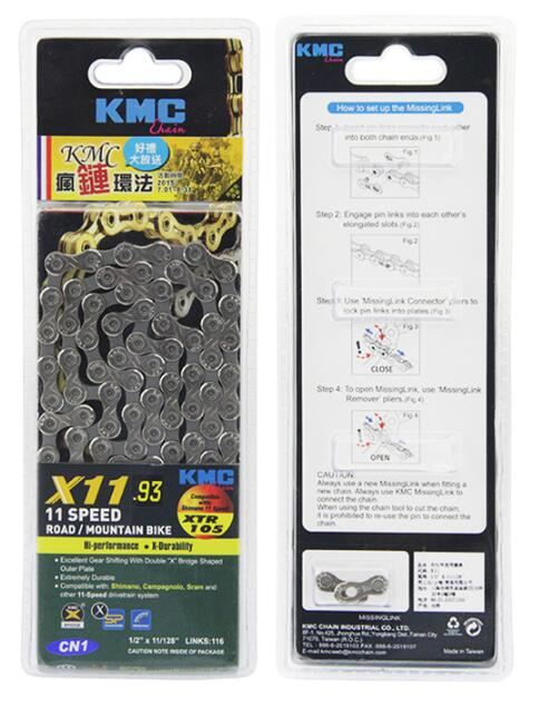 Kmc 11 Speed X11 X11EL X11SL MTB Bicycle chain Super Light mountain bike chain single 116 links Gold Silver original Box-packed<br>