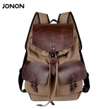 High Quality Vintage Fashion Casual Canvas Microfiber Leather Women Men Backpack Backpacks Shoulder Bag Bags For Lady Rucksack(China)