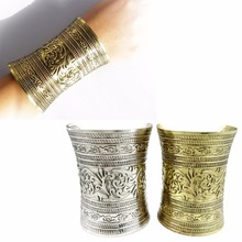 1Pcs Vintage Tibetan Punk Style Tribal Retro Silver Bronze Pulseira Carving Flower Wide Chain C Shape Indian Bangle Cuff Opened(China)