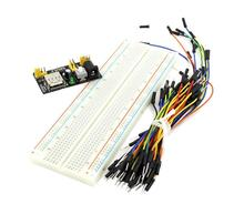 3.3V/5V MB102 Breadboard power module+MB-102 830 points Solderless Prototype Bread board kit +65 Flexible jumper wires