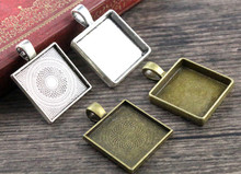 New Fashion 6pcs 20mm Inner Size 4 Style Square Cabochon Base Setting Charms Pendant,Fit 20mm Square Glass Cabochons(China)