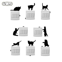 TIE LER 8 PCS Fashion Cartoon Cat And Mouse Window Wall Decorating Switch Sticker Vinyl Decal Decor Room(China)