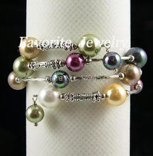 Wedding Pearl Jewelry - 8-10MM Triple Row Rainbow Color Mother of Pearl Wrap Bracelet Free Shipping