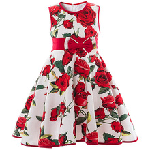 Rose Floral Print Summer Brand Dress For Girl Party Wear Kids Clothes Baby Girl Infant Princess Costume For Kids Formal Vestido