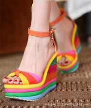 Shoes Rainbow Summer 2015 New Platform Wedges Sandals Women's Peep Toe Sandalias Female High Heels Shoes Small Size 32 33
