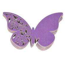 50 pcs Name Card Place card Paper Butterfly PURPLE Wedding Cake Cap Deco