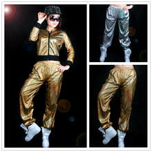 Men Women Paillette Modern Costumes Laser Reflective Sequins Jazz Glossy Gold Silver loose Harem Hip Hop Dance Pants(China)
