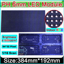 SMD 3 in1 P6 Indoor full color Led Display Modules, 64x32pixel 1/16 scanning, P6 RGB led display module video panel(China)