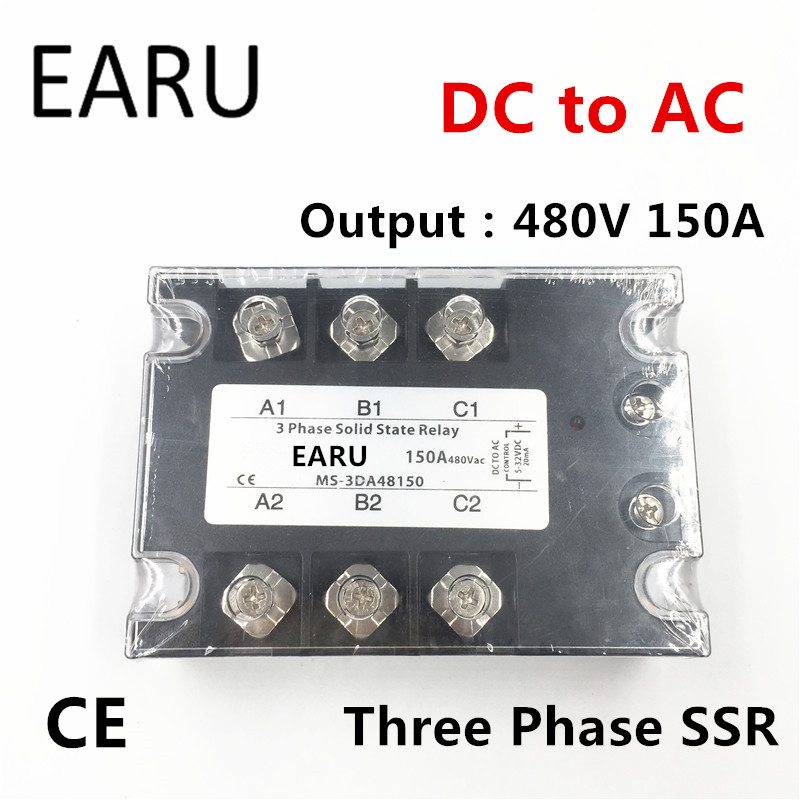 TSR-150DA SSR-150DA Three Phase Solid State Relay DC 5-32V Input Control AC 90~480V Output Load 150A 3 Phase SSR Power DA48150<br>