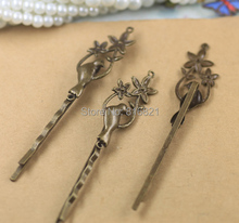 14x38mm Blank Bobby Pins Bases Settings Filigree Bird Flower pads Hair Clip Hairpins Crafts Findings Silver/ bronze tone