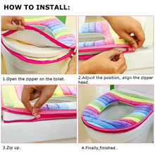 Toilet Seat Cover Washable Bathroom Overcoat Rainbow Toilet Case Zipper Lid Closestool Striped Warm Toilet Mat Cushion