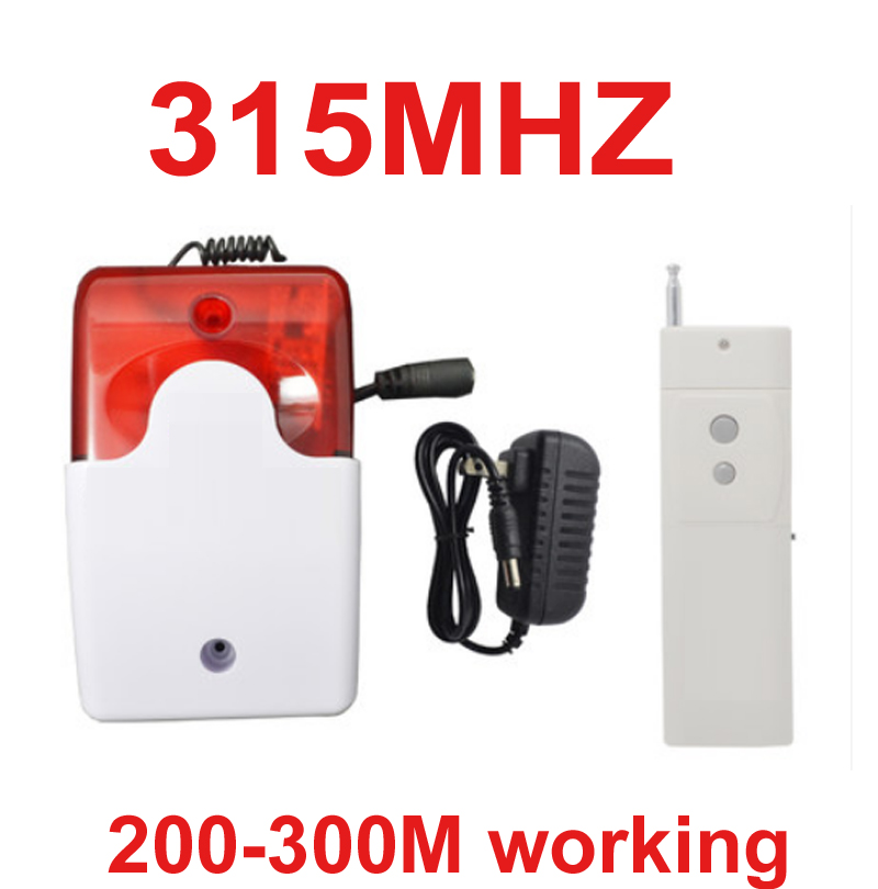 315mhz wireless speaker alarm horn 105dB 300meter working wireless speaker horn red flashing alarm 315mhz wireless horn speaker<br>