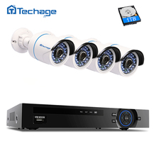 Techage 4CH 1080P NVR Kit Security Camera POE CCTV System IR Night Vision 4PCS 2MP Outdoor IP Camera Surveillance Free APP View(China)