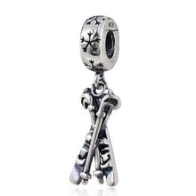 Authentic 925 sterling silver vintage jewelry sledge skis charm bead fit pandora bracelet pendant accessories for women charms