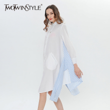 Buy TWOTWINSTYLE Patchwork Striped Shirt Dress Female Bandage Lace Casual Dresses Women Shirt Long Sleeve Clothes Big Sizes for $25.13 in AliExpress store