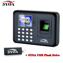 A01FY + usb flash drive biometric fingerprint punch time clock English Portuguese office attendance recorder machine reader(China)