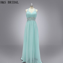 Real Sample Elegant Sweetheart Chiffon Pleated Beaded Sleeveless With Straps Backless Floor Length 2015 Evening Dresses(China)