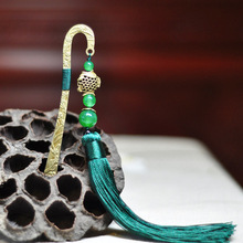 Ethnic jewelry long green tassel hair accessories,bronze fish green chalcedony vintage cloisonne hair pin(China)