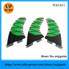 Surf FCS2 Fins Green FCSII K2.1 Tri-Set Fins Carbon Quilhas M Size Surf Thruster Fins Free Shipping stand up paddle(China)