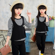 new children's clothing personality girl costume Striped spring cotton T-Shirt Vest+ Pants 3 piece. Children fashion sport kit