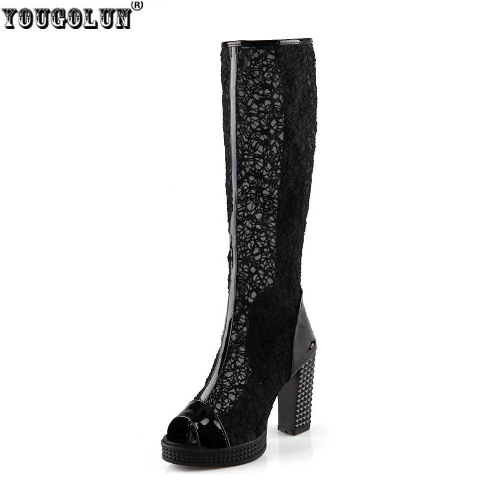 YOUGOLUN Women sexy sandals knee high women summer boots peep toe sandal thigh high heels Ladies gladiator boots platform shoes<br>