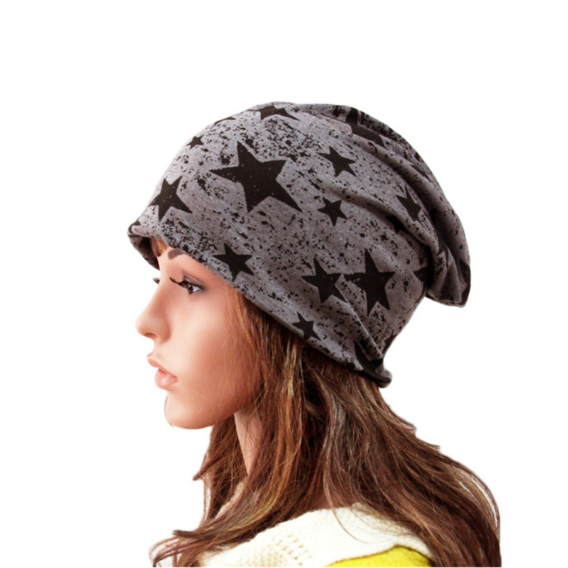 Five - pointed star fashion girls spring and autumn winter cotton double thin section head cap adult wraps men women beanies hat