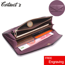 Contact's Slim Women Wallet Genuine Leather Snake Pattern Embossed Female Clutch Purse Cell Phone High Capacity Envelope Package
