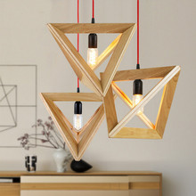 Wooden pendant light Wood lamp restaurant bar coffee dining room hanging light fixture(China)