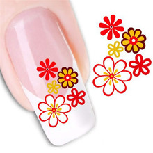 Nail Sticker 2017 Hot product beauty Women's  DIY  Water Transfer Stickers Red and Yellow  Flowers  Finger Nail Art Decals