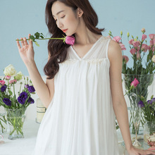 Spring, summer, new nightgown Women feeling loose big yards of princess palace lovely network modal yarn embroidery sleeveless(China)