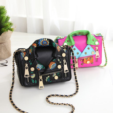 High Quality jacket shaped women leather handbag embroidery floral messenger bag 2017 new shoulder purse(China)