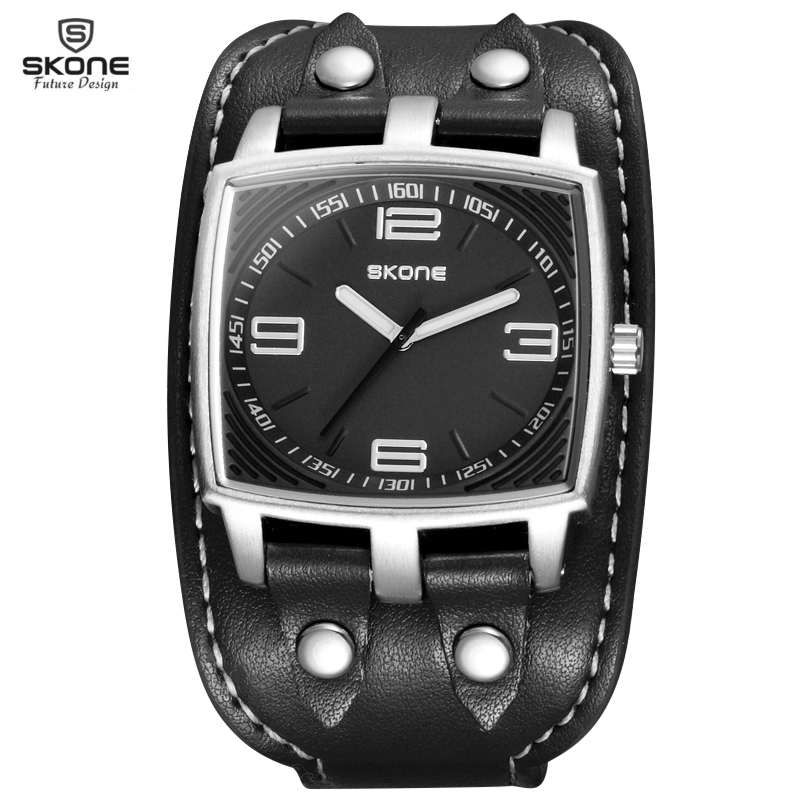 SKONE Brand Fashion Mens Quartz Sport Wristwatches Casual Rivet Decoration Wide Leather Strap Watches<br><br>Aliexpress