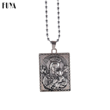 New Charm Beads Long Chain DIY Necklaces For Women Virgin Mary Jesus Christ Antique Silver Pendent Fashion Necklace Jewelry