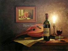 Free shipping wine and music instrument still life art oil painting print on canvas for Kitchen wall Picture Decor