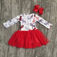 new arrival Christmas Fall/winter baby girls cotton moose reindeer dress ruffle children clothes boutique outfits match headwear(China)