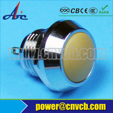 1214 12mm dia Domed Metal body plastic head momentary Pin terminal mini waterproof push switch(China)