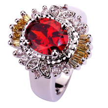 lingmei Wholesale Conventional Garnet & White CZ & Citrine Silver Color &  Ring Size 7 Jewelry Free Ship