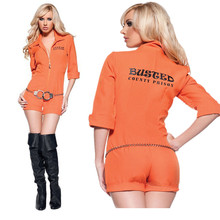 M-XL Women's Orange Scrub Jumpsuits Prisoner Costume Halloween Game Stage Bar Convict Costumes Cosplay