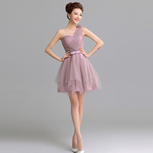 2016 New in Stock Elegant Purple Color Pleated High Quality Cheap Price Organza Short Bridesmaid Dress Fast Shipping