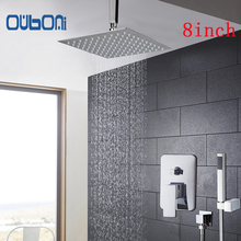 "OUBONI New Arrival Bathroom Shower Set 5 Years Warranty Bath Shower Mixer Faucet Ceiling 8"" Rainfall Shower Head + Hand Shower"