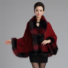 2017 fall winter new elegant Knit fur shawl color mixture faux fur cape poncho fox collar cardigan knitted fur coat for women(China)