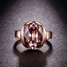 Top Quality Italina Brand Jewelry Rose Gold Color Premium Austria Purple Oval Crystal Ring with CZ Zircon for Women